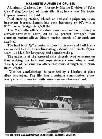 30221 Motor Boating 1961 30 Foot Marinette Express Cruiser